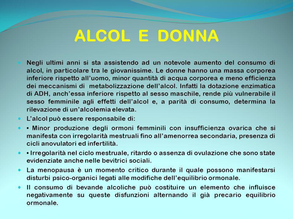 ALCOL E DONNA Negli ultimi anni si sta assistendo ad un notevole aumento del consumo di alcol, in particolare tra le giovanissime. Le donne hanno una
