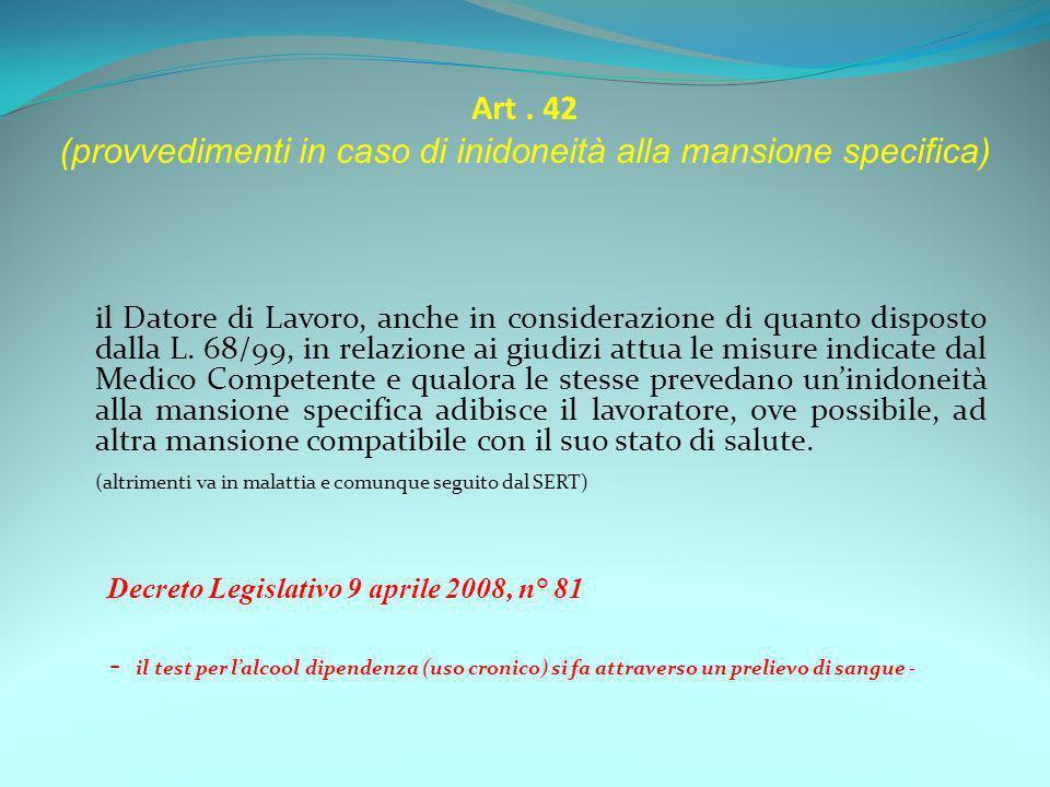 Art. 42 (provvedimenti in caso di inidoneità alla mansione specifica) il Datore di Lavoro, anche in considerazione di quanto disposto dalla L. 68/99,