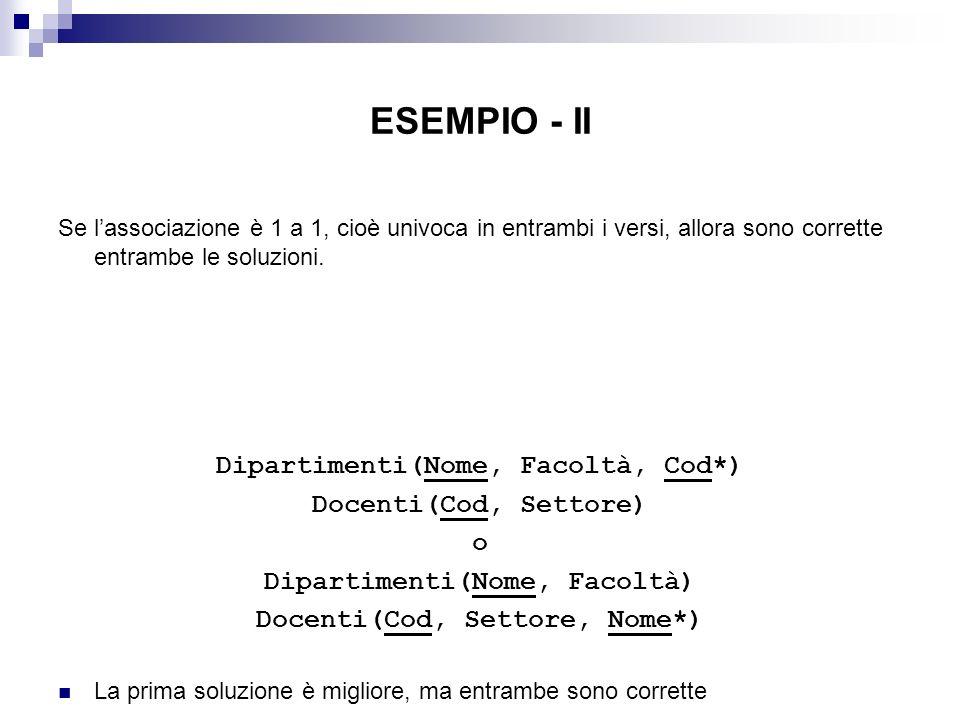 ESEMPIO - II Se lassociazione è 1 a 1, cioè univoca in entrambi i versi, allora sono corrette entrambe le soluzioni. Dipartimenti(Nome, Facoltà, Cod*)
