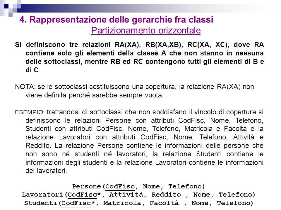 4. Rappresentazione delle gerarchie fra classi Partizionamento orizzontale Si definiscono tre relazioni RA(XA), RB(XA,XB), RC(XA, XC), dove RA contien
