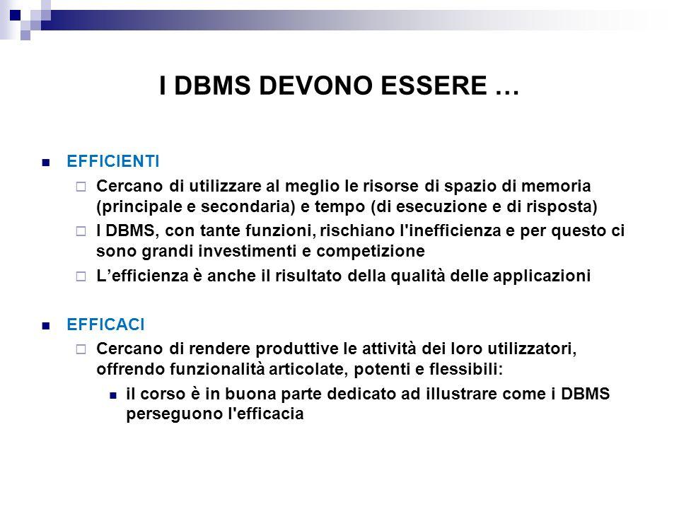 I DBMS DEVONO ESSERE … EFFICIENTI Cercano di utilizzare al meglio le risorse di spazio di memoria (principale e secondaria) e tempo (di esecuzione e d