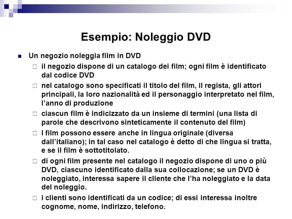 Esempio: Noleggio DVD Un negozio noleggia film in DVD il negozio dispone di un catalogo dei film; ogni film è identificato dal codice DVD nel catalogo sono specificati il titolo del film, il regista, gli attori principali, la loro nazionalità ed il personaggio interpretato nel film, lanno di produzione ciascun film è indicizzato da un insieme di termini (una lista di parole che descrivono sinteticamente il contenuto del film) I film possono essere anche in lingua originale (diversa dallitaliano); in tal caso nel catalogo è detto di che lingua si tratta, e se il film è sottotitolato.