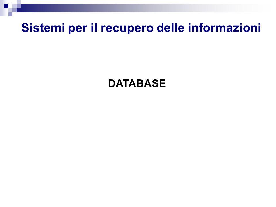 Sistemi per il recupero delle informazioni DATABASE