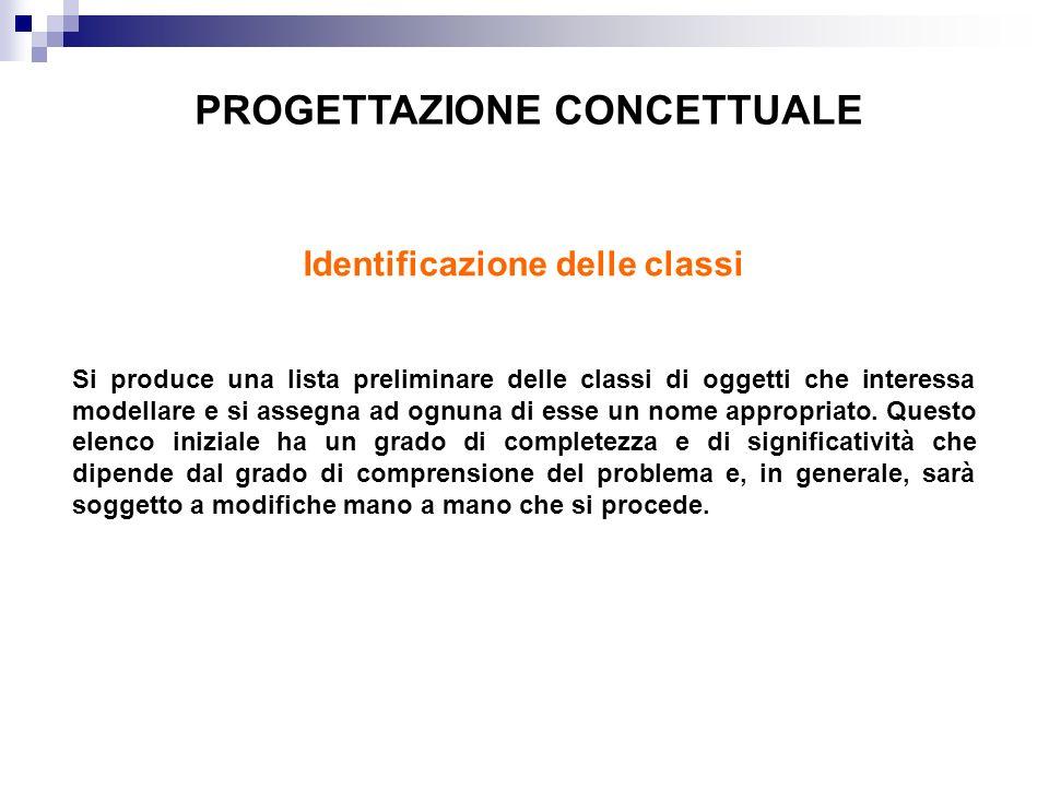 PROGETTAZIONE CONCETTUALE Identificazione delle classi Si produce una lista preliminare delle classi di oggetti che interessa modellare e si assegna ad ognuna di esse un nome appropriato.