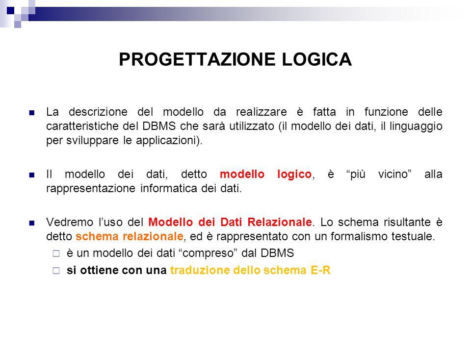 PROGETTAZIONE LOGICA La descrizione del modello da realizzare è fatta in funzione delle caratteristiche del DBMS che sarà utilizzato (il modello dei dati, il linguaggio per sviluppare le applicazioni).