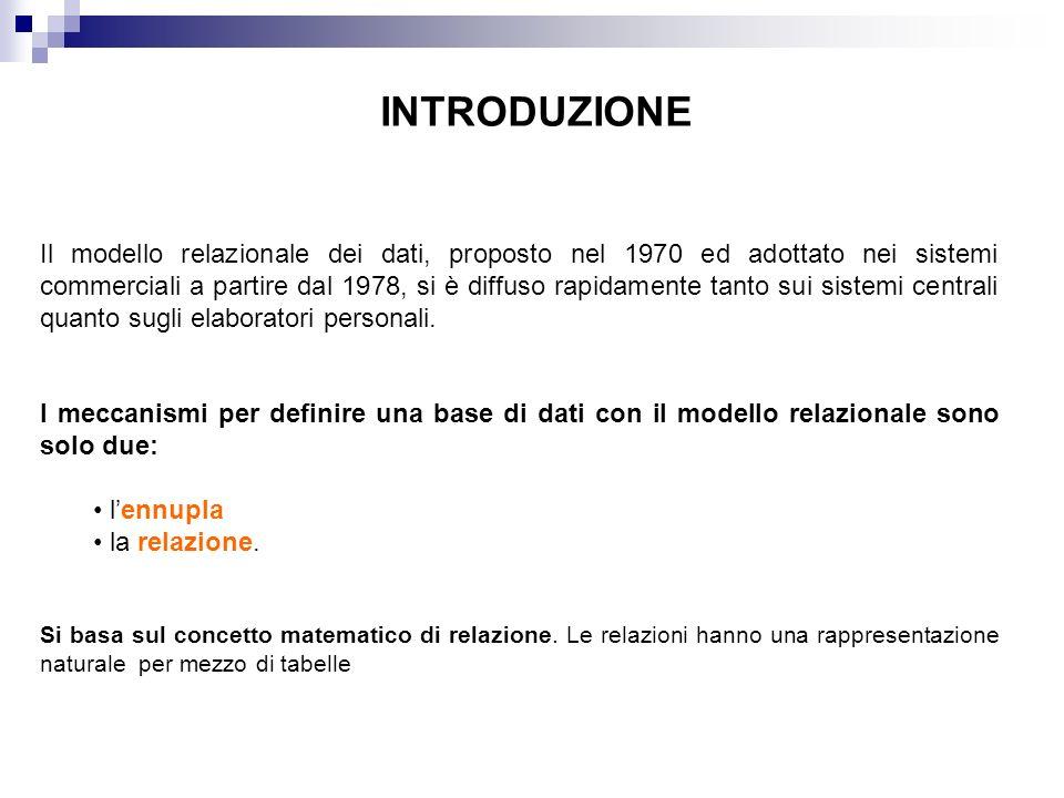 INTRODUZIONE Il modello relazionale dei dati, proposto nel 1970 ed adottato nei sistemi commerciali a partire dal 1978, si è diffuso rapidamente tanto