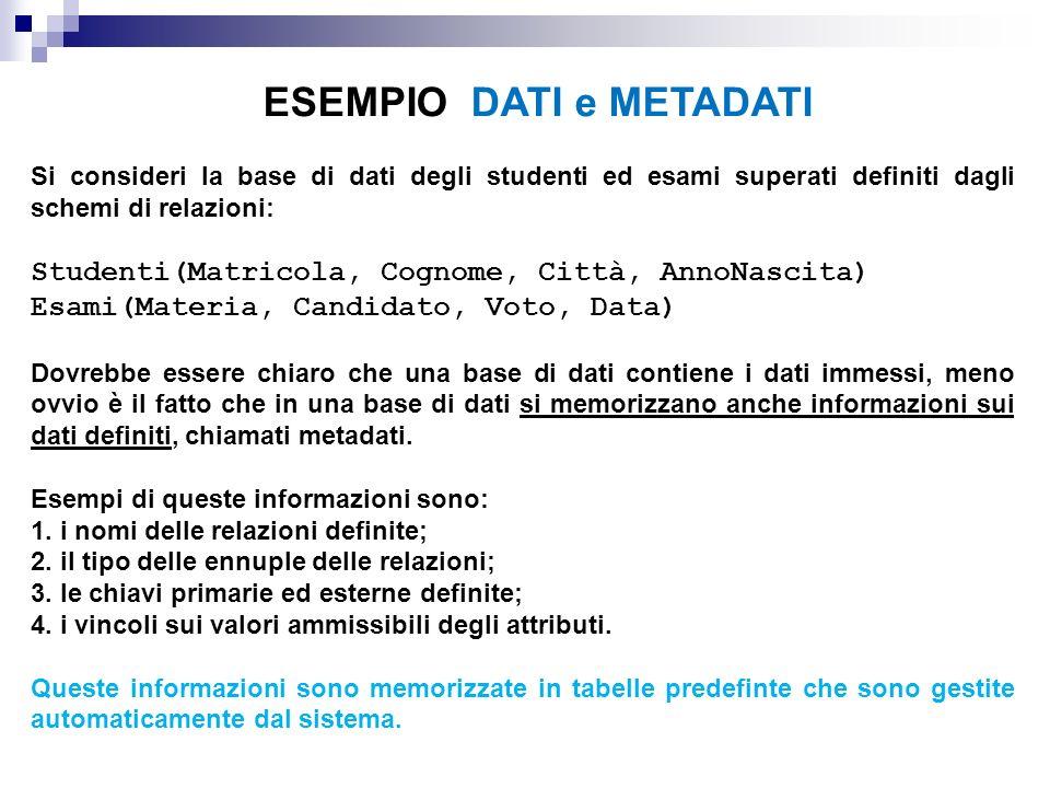 Si consideri la base di dati degli studenti ed esami superati definiti dagli schemi di relazioni: Studenti(Matricola, Cognome, Città, AnnoNascita) Esa
