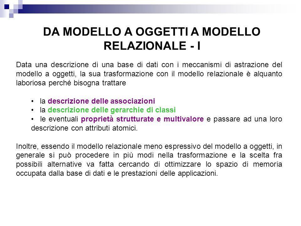 DA MODELLO A OGGETTI A MODELLO RELAZIONALE - I Data una descrizione di una base di dati con i meccanismi di astrazione del modello a oggetti, la sua t
