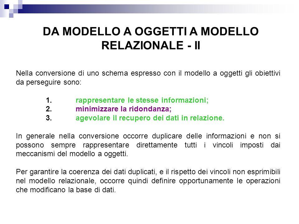 DA MODELLO A OGGETTI A MODELLO RELAZIONALE - II Nella conversione di uno schema espresso con il modello a oggetti gli obiettivi da perseguire sono: 1.