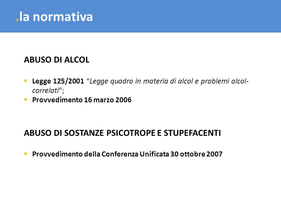 .la normativa ABUSO DI ALCOL Legge 125/2001 Legge quadro in materia di alcol e problemi alcol- correlati; Provvedimento 16 marzo 2006 ABUSO DI SOSTANZ