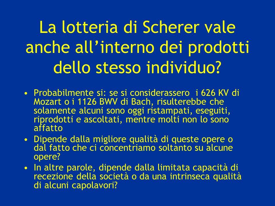 La lotteria di Scherer vale anche allinterno dei prodotti dello stesso individuo? Probabilmente si: se si considerassero i 626 KV di Mozart o i 1126 B