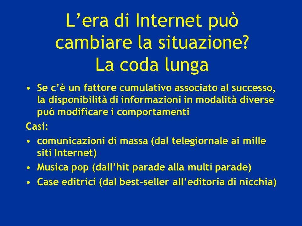 Lera di Internet può cambiare la situazione? La coda lunga Se cè un fattore cumulativo associato al successo, la disponibilità di informazioni in moda