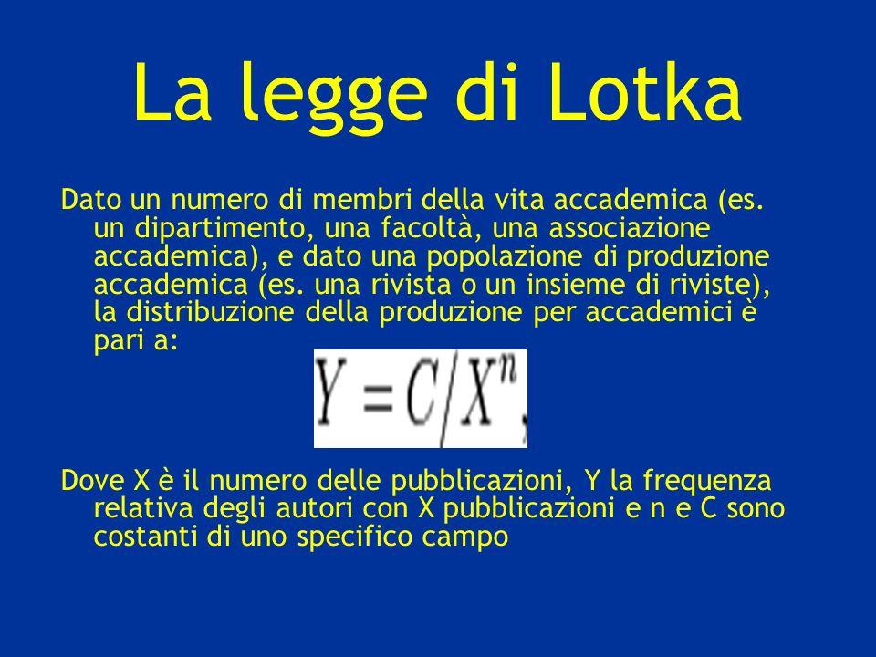 La legge di Lotka Dato un numero di membri della vita accademica (es. un dipartimento, una facoltà, una associazione accademica), e dato una popolazio
