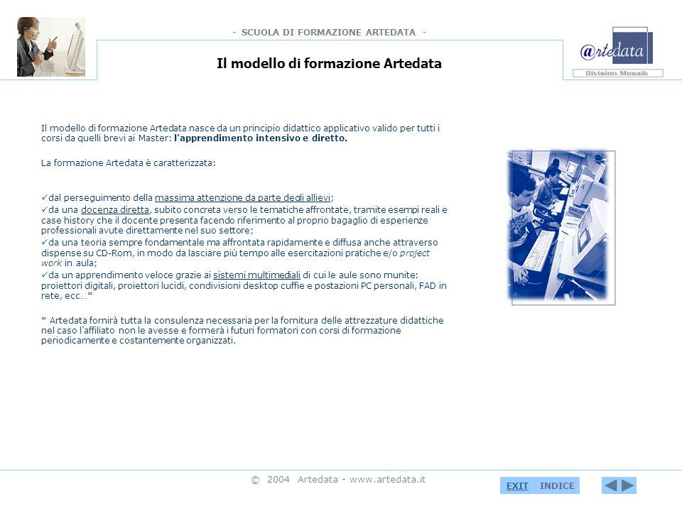 - SCUOLA DI FORMAZIONE ARTEDATA - INDICEEXIT © 2004 Artedata - www.artedata.it Servizi alle imprese Sin dalla sua nascita, Mosaik è impegnata nell offerta di servizi informatici e multimediali applicati ai Beni Culturali.