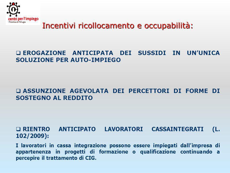Incentivi ricollocamento e occupabilità: L.n. 102/09 Msg.