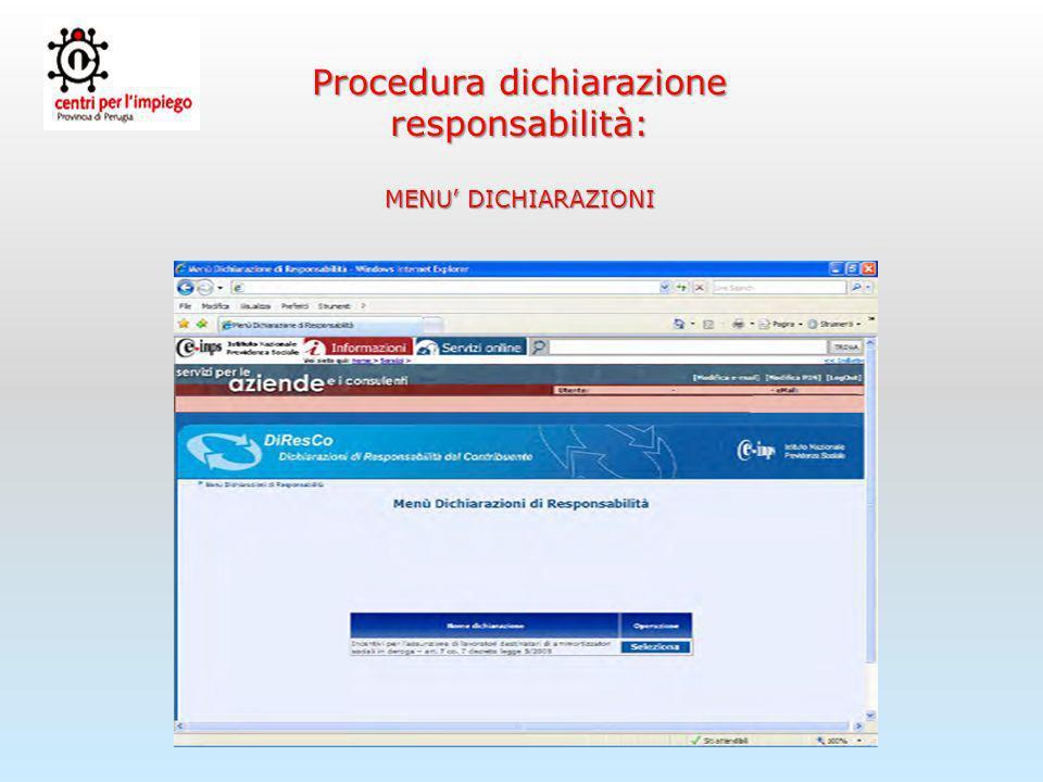 Procedura dichiarazione responsabilità: DATI IDENTIFICATIVI DATORE DI LAVORO