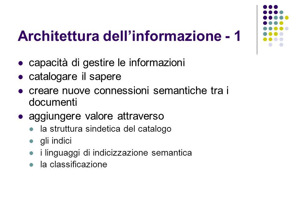 Architettura dellinformazione - 1 capacità di gestire le informazioni catalogare il sapere creare nuove connessioni semantiche tra i documenti aggiung