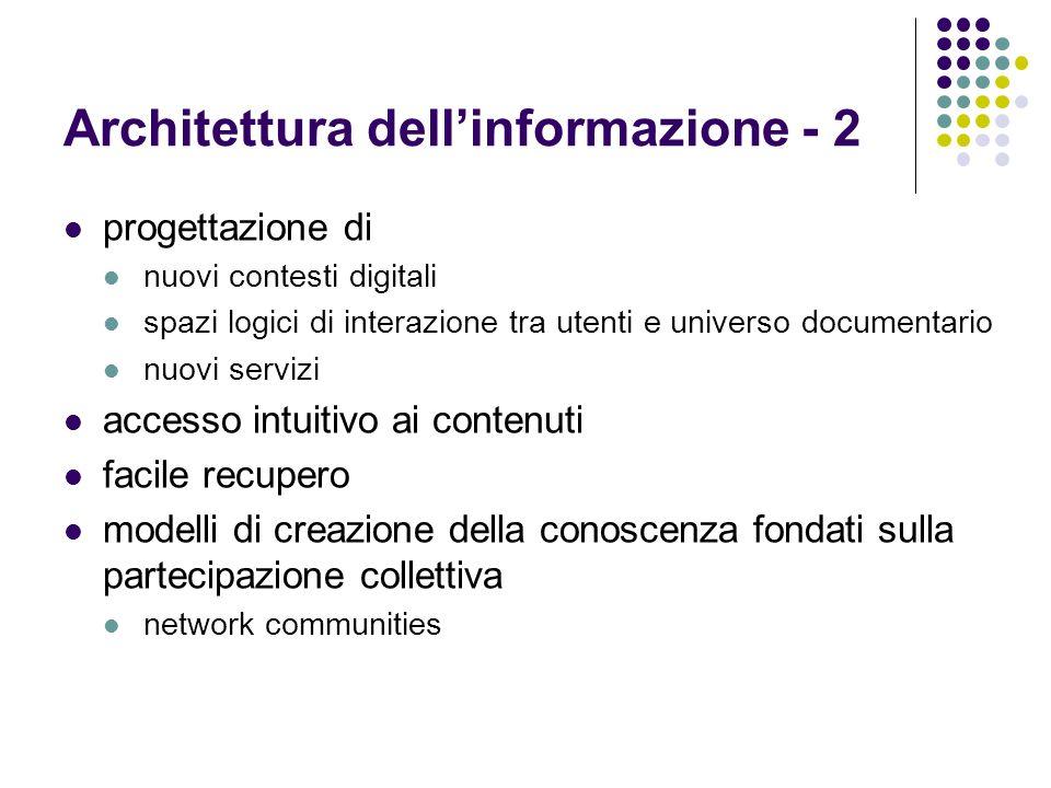 Architettura dellinformazione - 2 progettazione di nuovi contesti digitali spazi logici di interazione tra utenti e universo documentario nuovi serviz