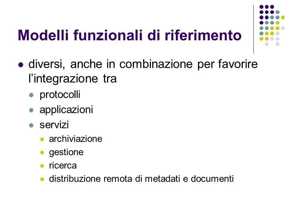 Modelli funzionali di riferimento diversi, anche in combinazione per favorire lintegrazione tra protocolli applicazioni servizi archiviazione gestione