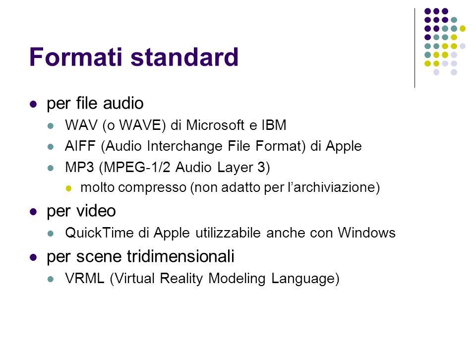 Formati standard per file audio WAV (o WAVE) di Microsoft e IBM AIFF (Audio Interchange File Format) di Apple MP3 (MPEG-1/2 Audio Layer 3) molto compr