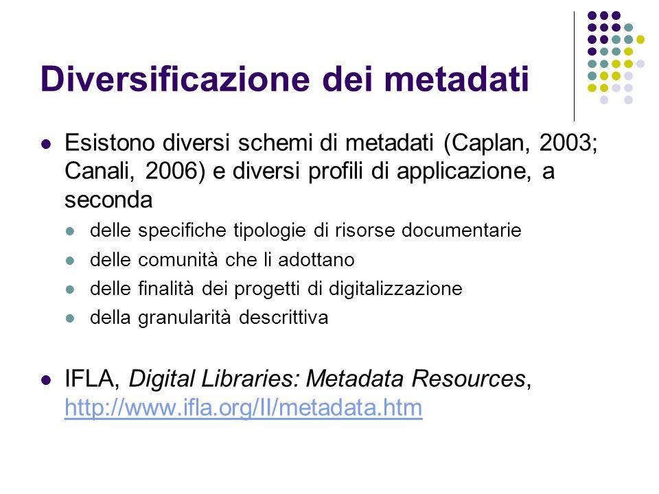 Diversificazione dei metadati Esistono diversi schemi di metadati (Caplan, 2003; Canali, 2006) e diversi profili di applicazione, a seconda delle spec