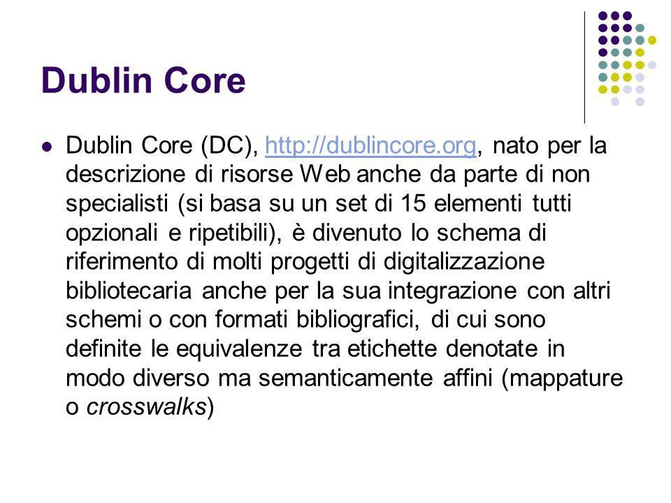 Dublin Core Dublin Core (DC), http://dublincore.org, nato per la descrizione di risorse Web anche da parte di non specialisti (si basa su un set di 15