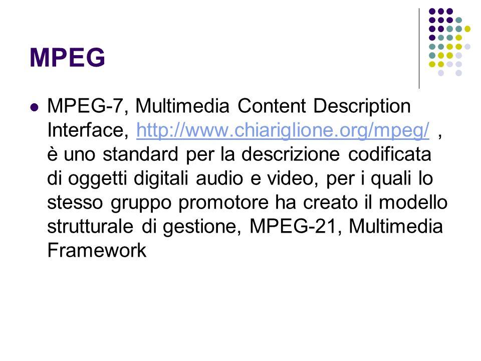 MPEG MPEG-7, Multimedia Content Description Interface, http://www.chiariglione.org/mpeg/, è uno standard per la descrizione codificata di oggetti digi