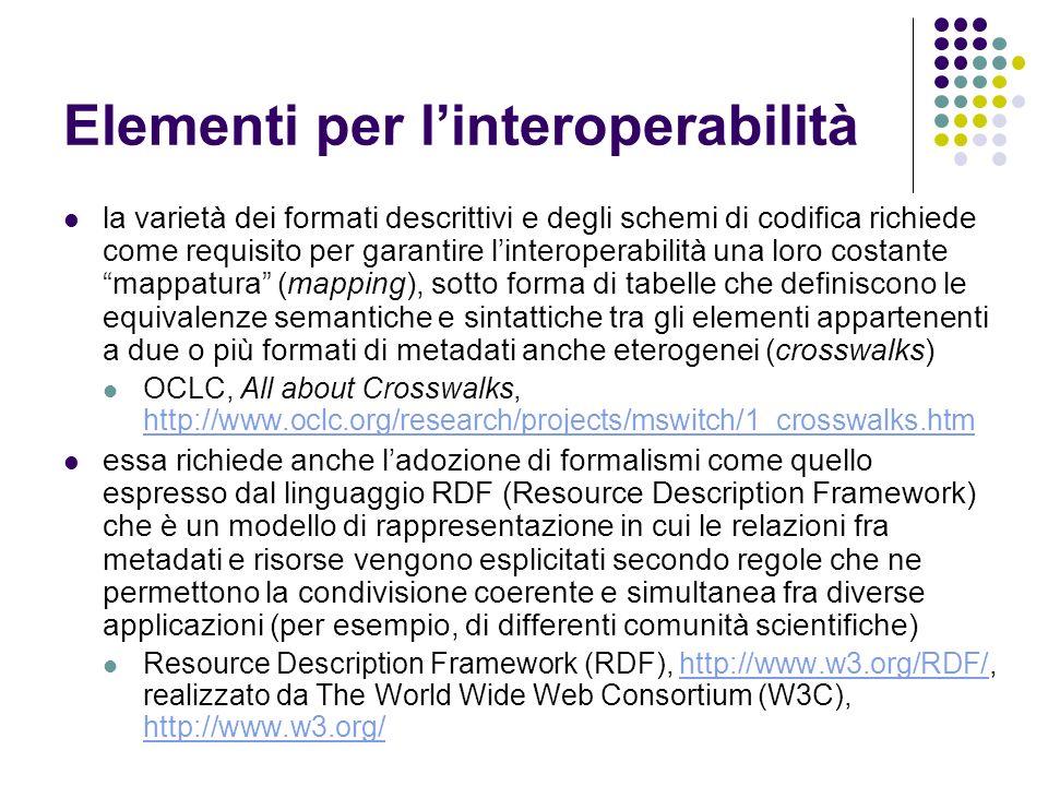 Elementi per linteroperabilità la varietà dei formati descrittivi e degli schemi di codifica richiede come requisito per garantire linteroperabilità u