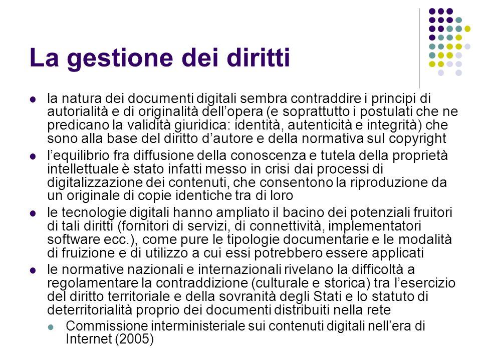 La gestione dei diritti la natura dei documenti digitali sembra contraddire i principi di autorialità e di originalità dellopera (e soprattutto i post