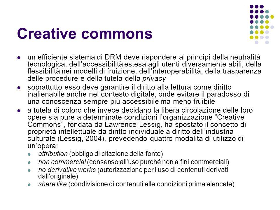 Creative commons un efficiente sistema di DRM deve rispondere ai principi della neutralità tecnologica, dellaccessibilità estesa agli utenti diversame
