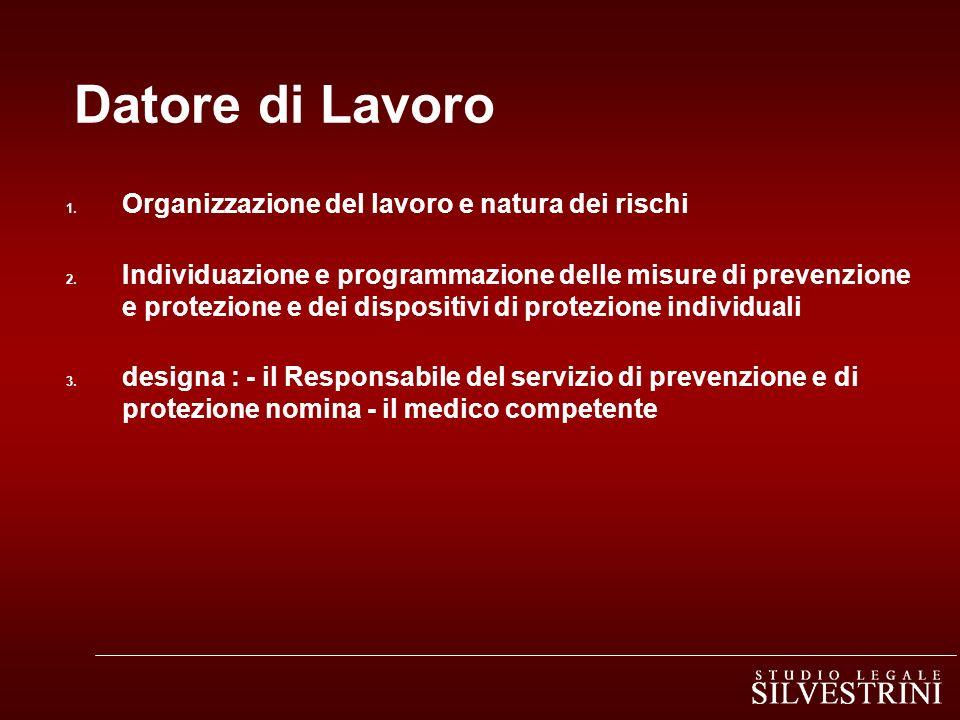 Datore di Lavoro 1. Organizzazione del lavoro e natura dei rischi 2. Individuazione e programmazione delle misure di prevenzione e protezione e dei di