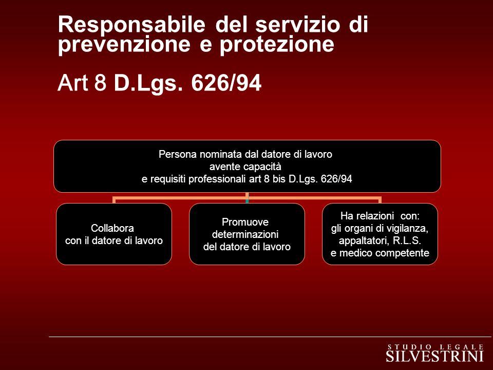 Responsabile del servizio di prevenzione e protezione Art 8 D.Lgs. 626/94 Persona nominata dal datore di lavoro avente capacità e requisiti profession