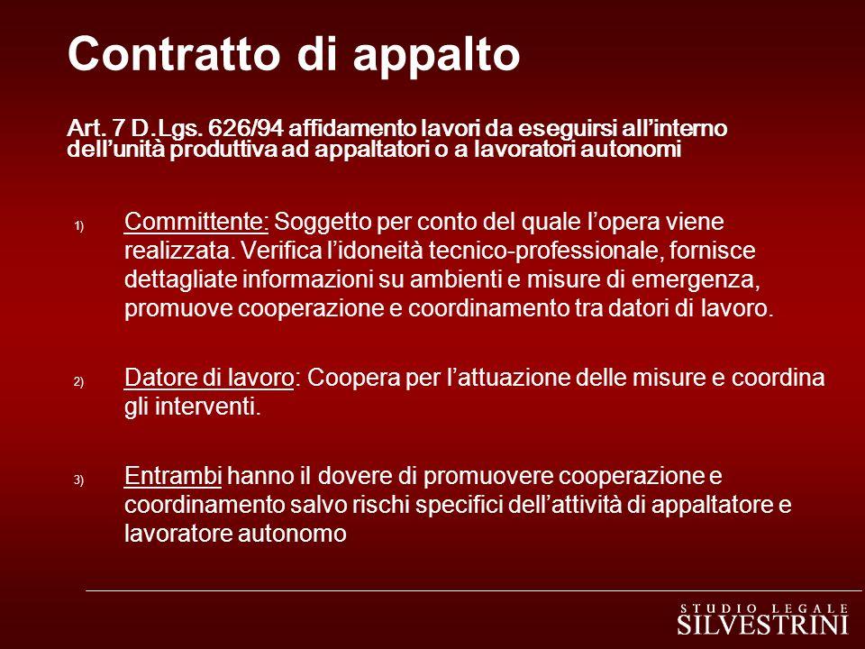 Contratto di appalto Art. 7 D.Lgs. 626/94 affidamento lavori da eseguirsi allinterno dellunità produttiva ad appaltatori o a lavoratori autonomi 1) Co