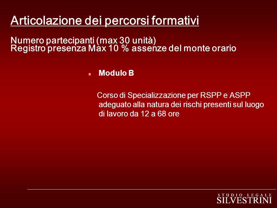 Articolazione dei percorsi formativi Numero partecipanti (max 30 unità) Registro presenza Max 10 % assenze del monte orario n Modulo B Corso di Specia