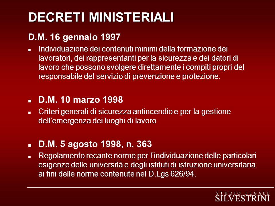DECRETI MINISTERIALI DECRETI MINISTERIALI D.M. 16 gennaio 1997 n Individuazione dei contenuti minimi della formazione dei lavoratori, dei rappresentan