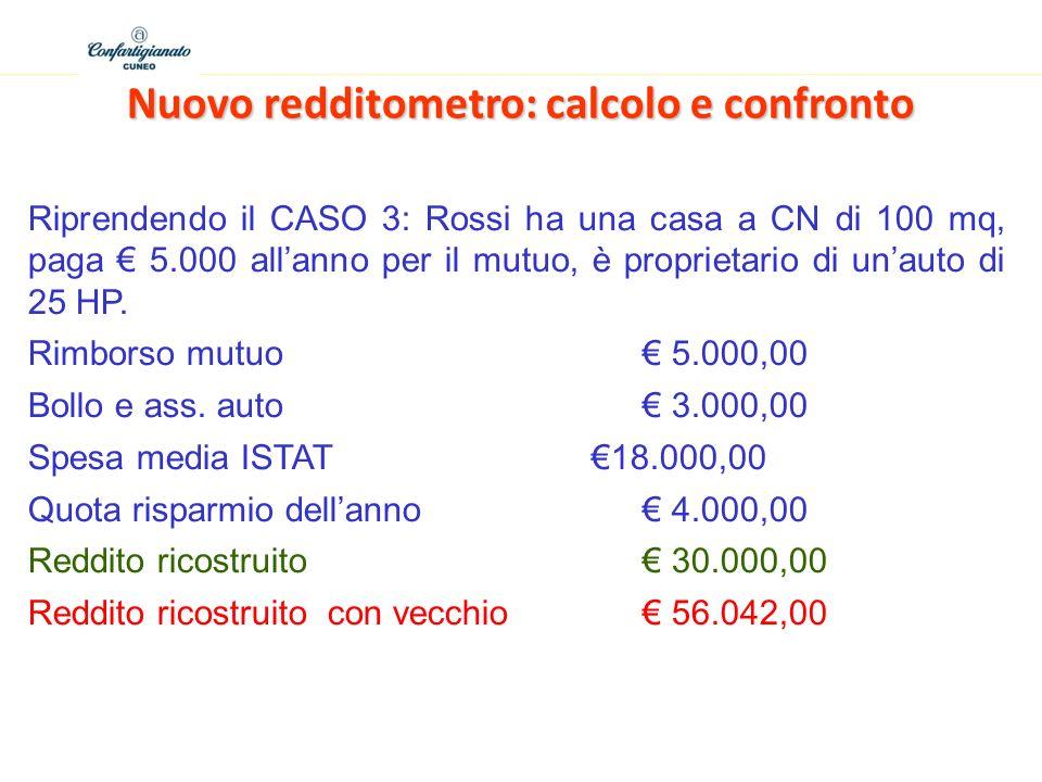 Nuovo redditometro: calcolo e confronto Riprendendo il CASO 3: Rossi ha una casa a CN di 100 mq, paga 5.000 allanno per il mutuo, è proprietario di unauto di 25 HP.
