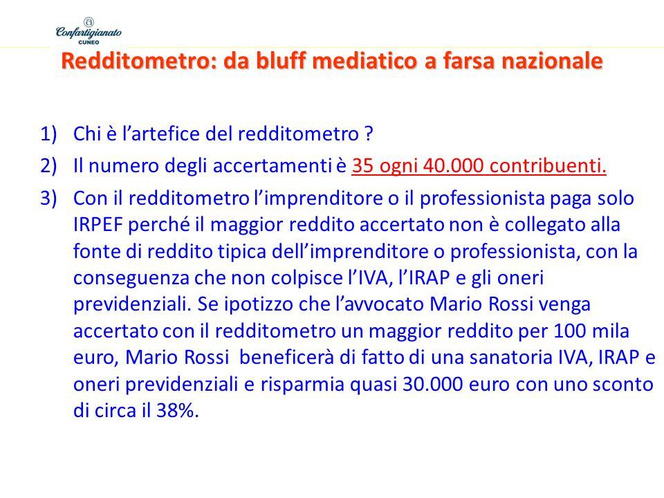 Redditometro: da bluff mediatico a farsa nazionale 1)Chi è lartefice del redditometro ? 2)Il numero degli accertamenti è 35 ogni 40.000 contribuenti.