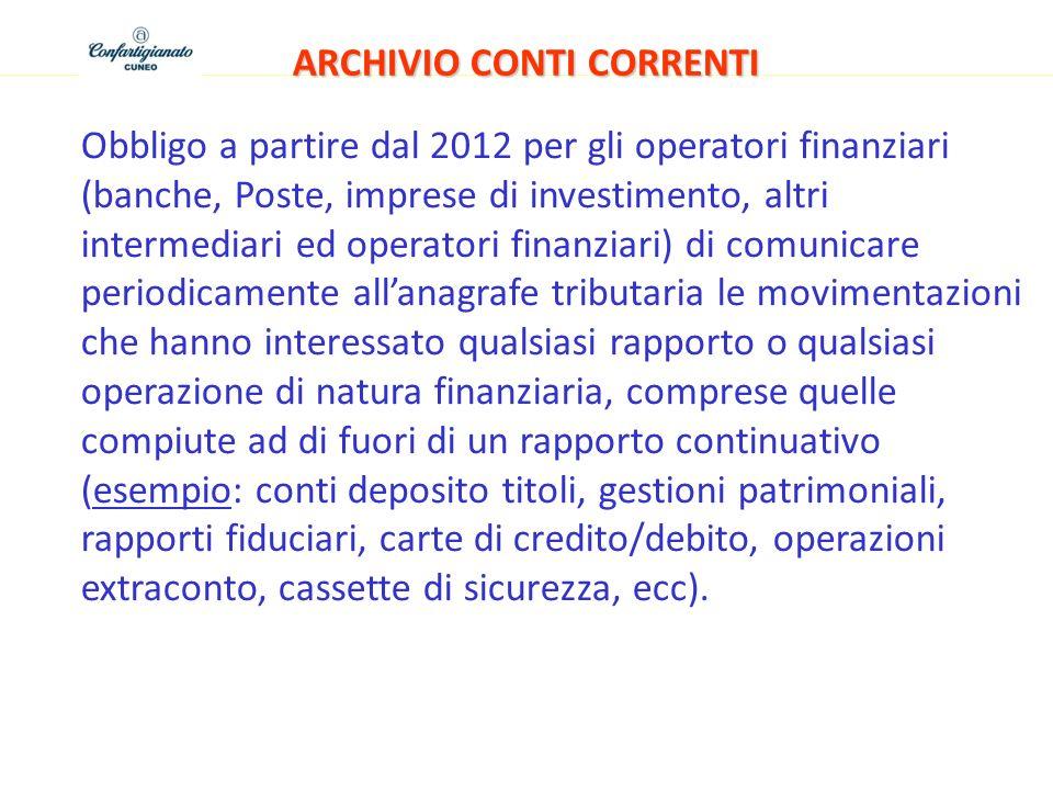 ARCHIVIO CONTI CORRENTI Obbligo a partire dal 2012 per gli operatori finanziari (banche, Poste, imprese di investimento, altri intermediari ed operato