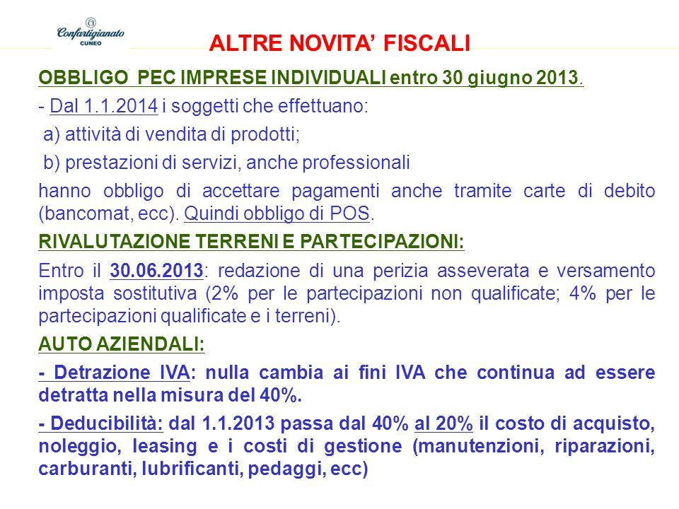 ALTRE NOVITA FISCALI OBBLIGO PEC IMPRESE INDIVIDUALI entro 30 giugno 2013. - Dal 1.1.2014 i soggetti che effettuano: a) attività di vendita di prodott