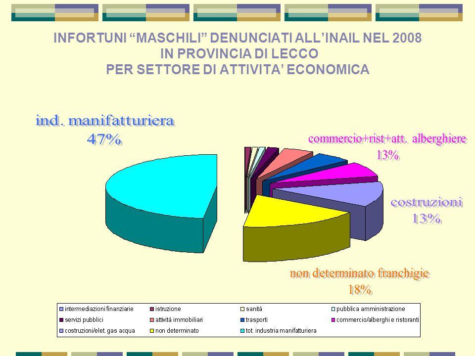 INFORTUNI MASCHILI DENUNCIATI ALLINAIL NEL 2008 IN PROVINCIA DI LECCO PER SETTORE DI ATTIVITA ECONOMICA