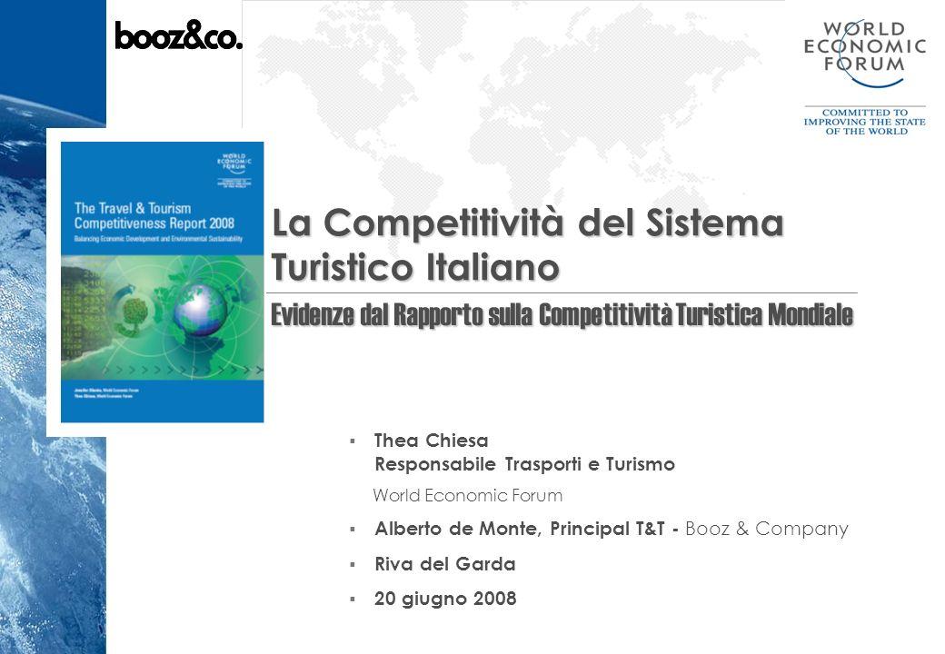 2 La Competitivita del Settore Turismo in Italia20 Giugno 2008 Agenda della Presentazione Chi e il World Economic Forum Il programma sulla Competitività Globale e il Rapporto 2008 sulla Competitività del settore Turistico Mondiale L Indice della Competitività del Sistema Turistico (TTCI - Travel & Tourism Competitiveness Index) I risultati comparativi del TTCI per il 2008 Analisi sulla Competitività Italiana: la performance del Paese sulla base della ricerca (Booz & Company)