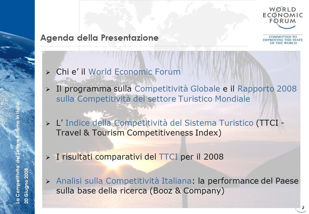 13 La Competitivita del Settore Turismo in Italia20 Giugno 2008 Lindice T&T del Forum classifica lItalia al 28° posto su 131 Paesi per competitività - tutti gli altri Paesi del ClubMed sono davanti ITALY SPAGNA 5 FRANCIA 10 PORTOGALLO 15 GRECIA 22 ITALIA 28 RANKING ALTRI PAESI CLUB MED