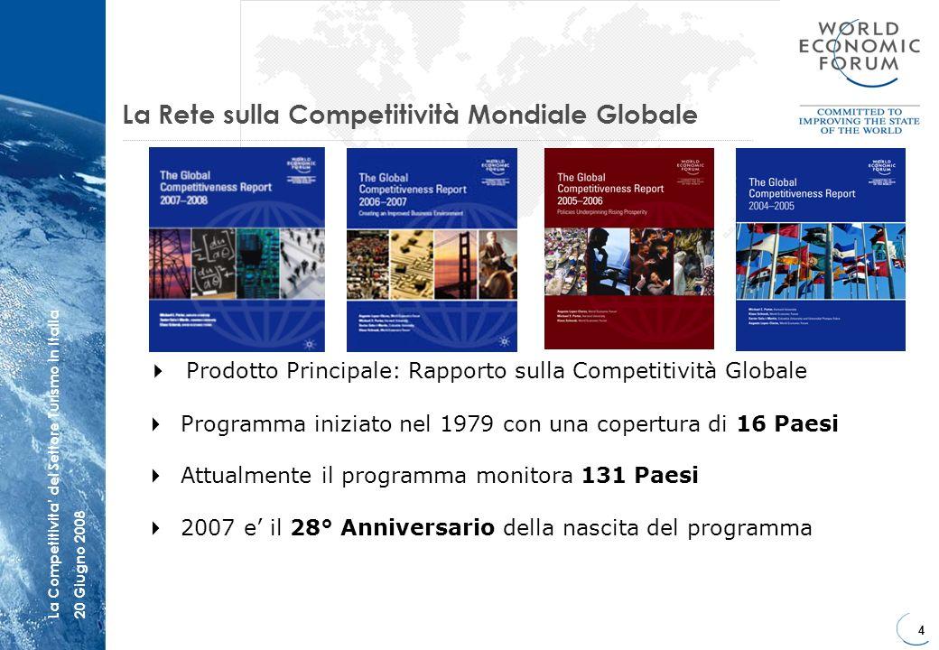 4 La Competitivita del Settore Turismo in Italia20 Giugno 2008 La Rete sulla Competitività Mondiale Globale Prodotto Principale: Rapporto sulla Compet