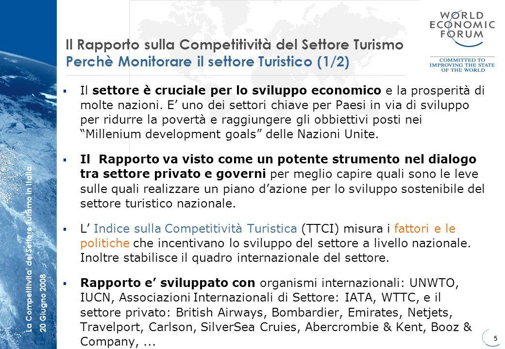 6 La Competitivita del Settore Turismo in Italia20 Giugno 2008 Il Rapporto sulla Competitività Mondiale LIndice e fortemente correlato con gli indicatori più tradizionali del settore Turistico Competività Globale e Arrivi Internazionali Fonti: WTTC, World Economic Forum