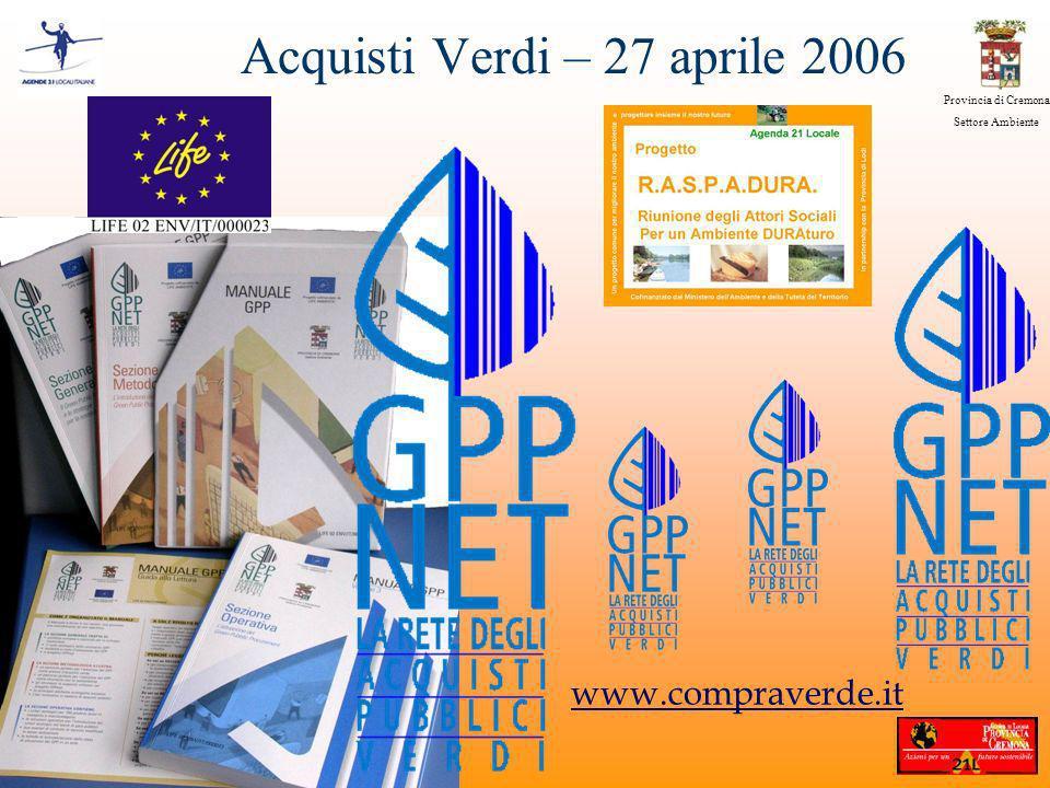 Provincia di Cremona Settore Ambiente www.compraverde.it Acquisti Verdi – 27 aprile 2006