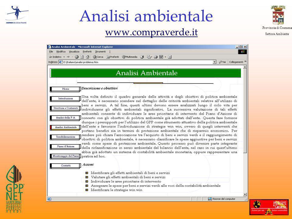 Provincia di Cremona Settore Ambiente Analisi ambientale www.compraverde.it