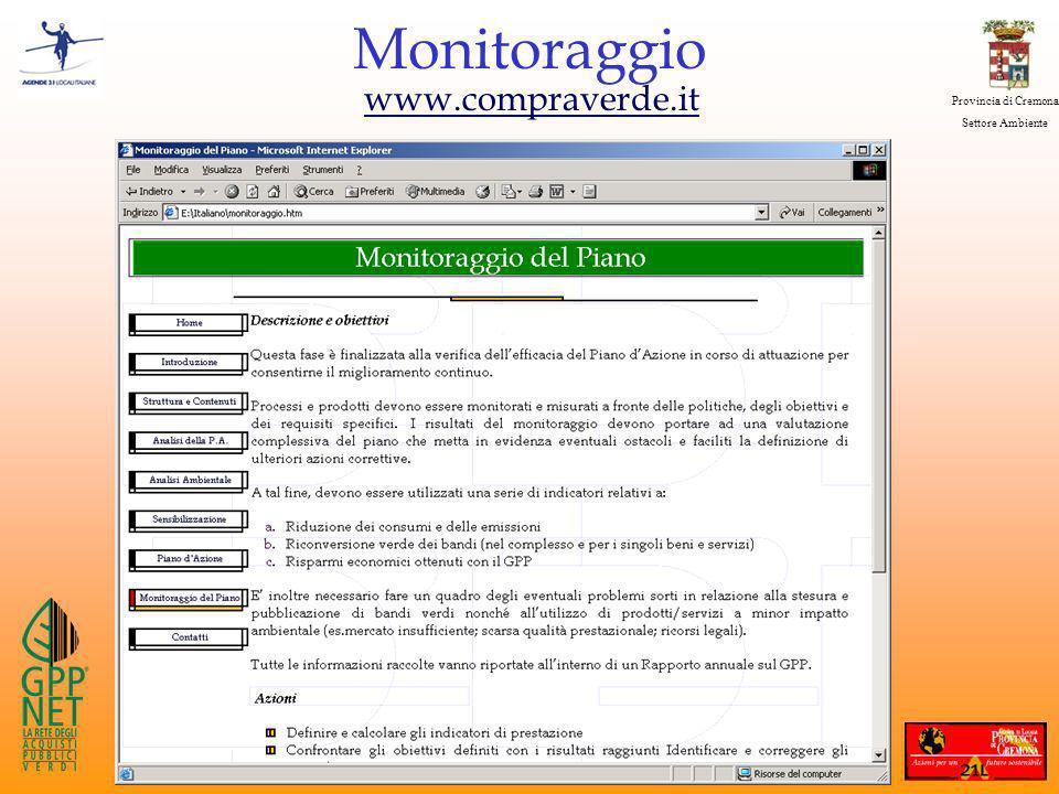 Provincia di Cremona Settore Ambiente Monitoraggio www.compraverde.it