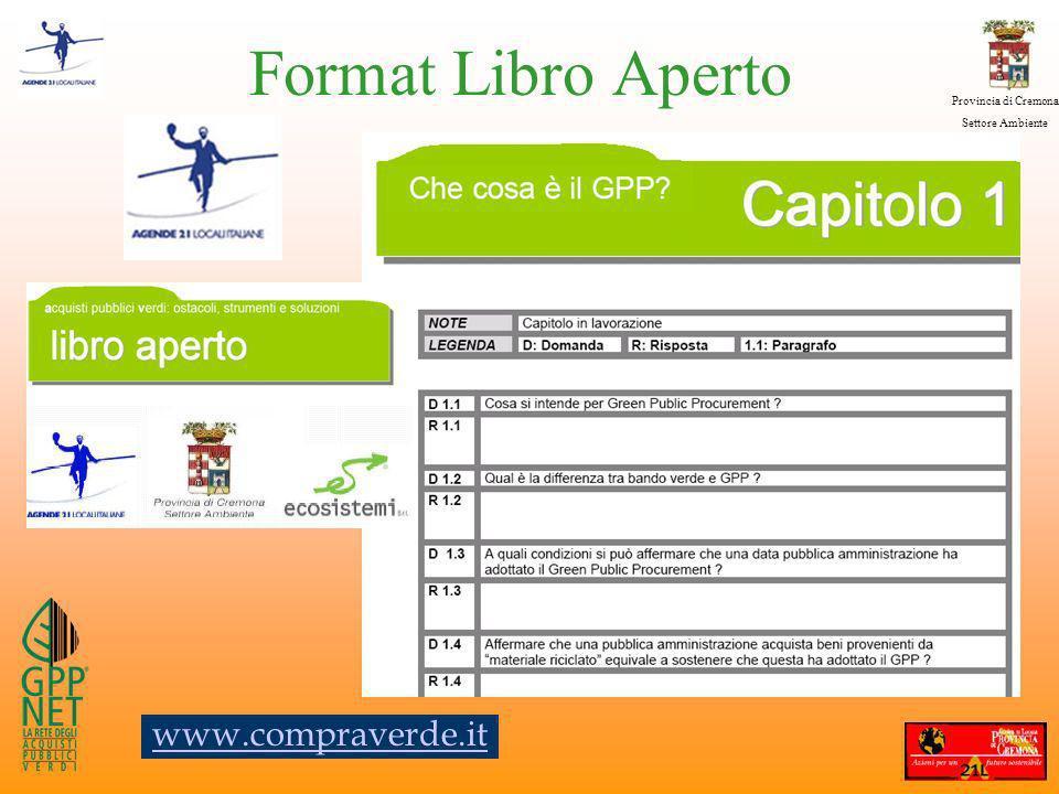 Provincia di Cremona Settore Ambiente Format Libro Aperto www.compraverde.it