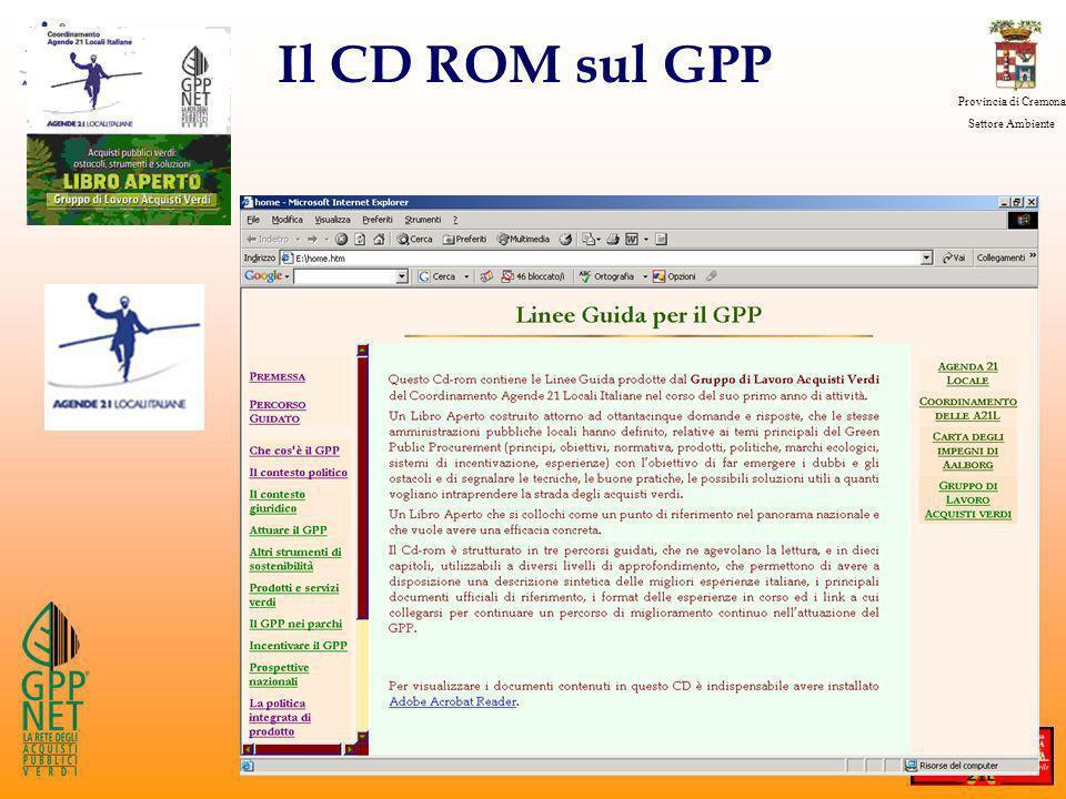 Provincia di Cremona Settore Ambiente Il CD ROM sul GPP