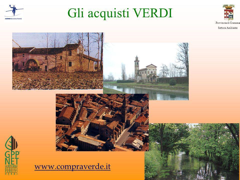 Provincia di Cremona Settore Ambiente Gli acquisti VERDI www.compraverde.it